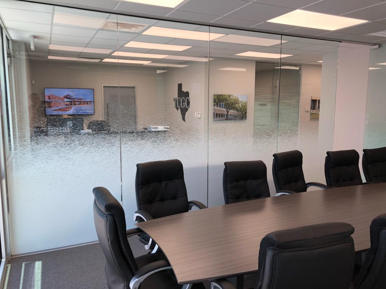 Gradient broken lines design window tint for office
