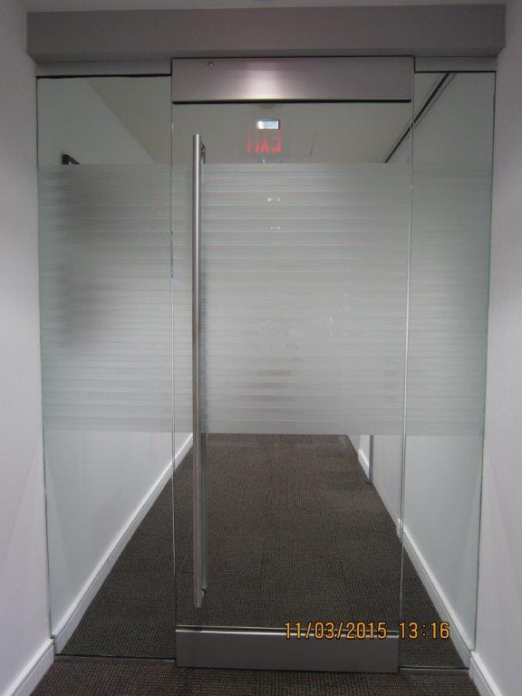 Office glass door with tint